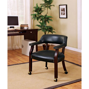 Black Traditional Upholstered Vinyl Side Chair with Nailhead Trim and Casters