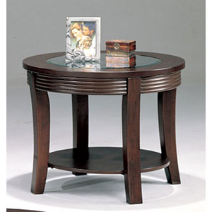 Simpson Round End Table with Glass Top