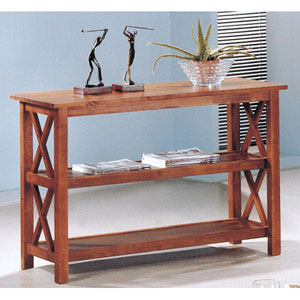 Briarcliff Brown Casual Sofa Table with Two Shelves