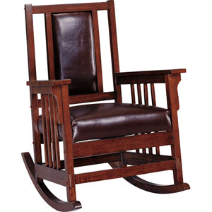 Mission Style Wood Rocker with Leather Match Seat and Back
