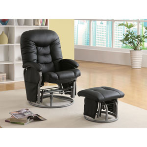 Black Casual Leatherette Glider Recliner with Matching Ottoman