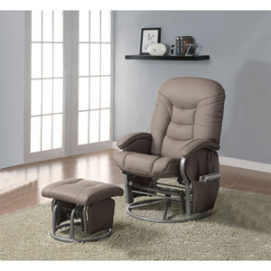 Beige Casual Leatherette Glider Recliner with Matching Ottoman