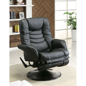 Black Casual Leatherette Swivel Recliner