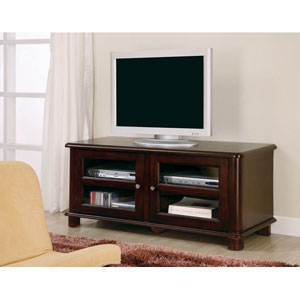 Cappuccino Transitional Media Console with Doors and Shelves