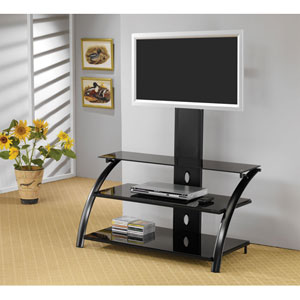 Black Contemporary Metal Media Console with Bracket