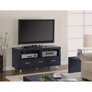 Black Contemporary Media Console with Shelves and Drawers