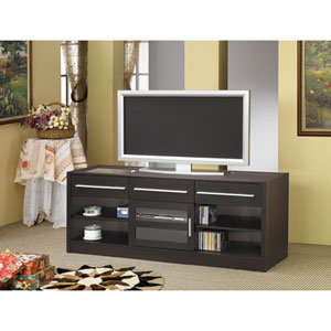 Cappuccino Contemporary TV Console with Connect-It Power Drawer