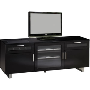 Black Contemporary TV Console with High Gloss Finish