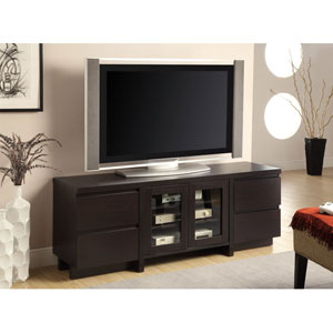 Cherry Contemporary TV Console with Four Drawers and Two Glass Doors