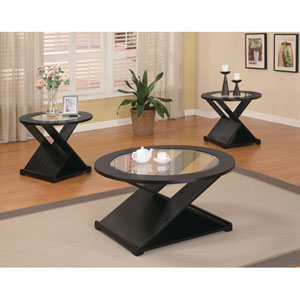 Contemporary Three Piece Round Occasional Table Set
