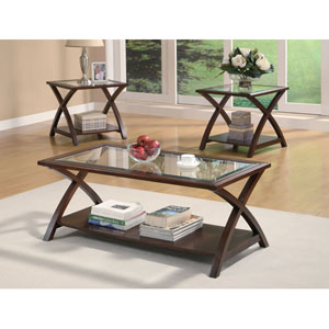 Cappuccino Coffee Table and End Table Set