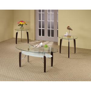 Cappuccino Three Piece Contemporary Round Coffee and End Table Set
