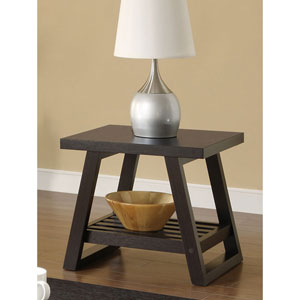 Cappuccino Casual End Table with Slatted Bottom Shelf