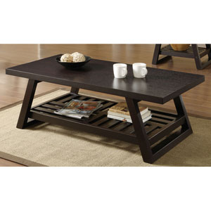 Cappuccino Casual Coffee Table with Slatted Bottom Shelf