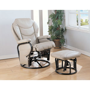 Bone Glider Rocker with Round Base Ottoman