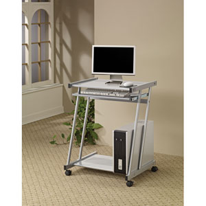 Computer Desk with Keyboard Tray and Casters