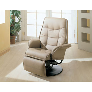 Berri Beige Swivel Recliner with Flared Arms