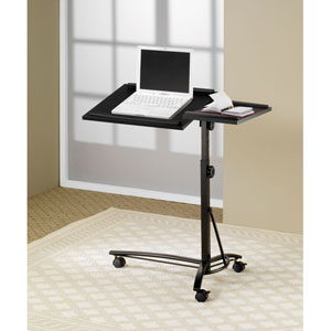 Black Laptop Computer Stand with Adjustable Swivel Top and Casters
