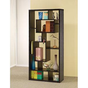 Black Asymmetrical Cube Book Case with Shelves