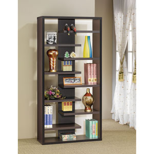 Cappuccino Contemporary Asymmetrical Bookcase