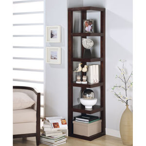 Cappuccino Contemporary Corner Bookcase