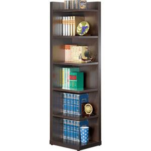 Cappuccino Corner Bookcase with Open Side
