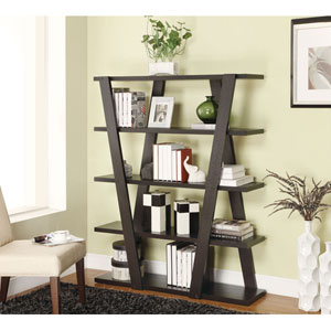 Cappuccino Modern Bookshelf with Inverted Supports and Open Shelves