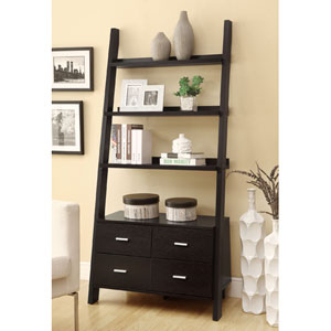 Cappuccino Leaning Ladder Bookshelf with Two Drawers