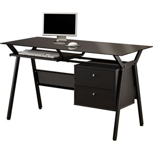 Black Metal and Glass Computer Desk with Two Storage Drawers
