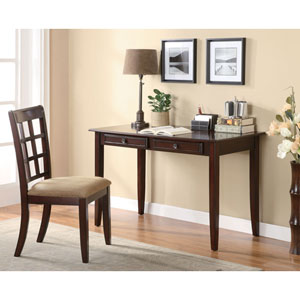 Brown Table Desk with Two Drawers and Desk Chair