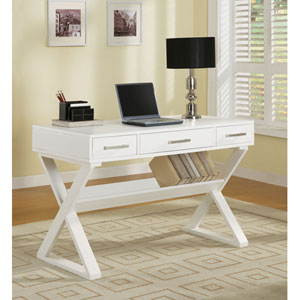 White Casual Three Drawer Desk with Criss-Cross Legs
