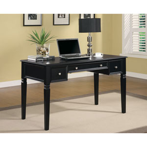 Black Classic Table Desk with Keyboard Drawer and Power Outlet