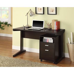 Cappuccino Two-Piece Writing Desk Set with Rolling File Cabinet