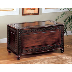 Dark Cherry Traditional Cedar Chest with Carving and Bun Feet
