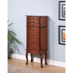 Warm Brown Jewelry Armoire with Antiqued Hardware