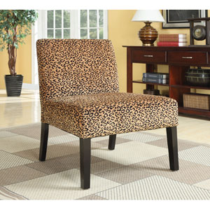 Leopard Print Accent Chair with Wood Legs
