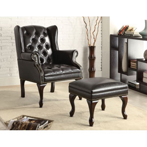 Black Traditional Wing Back Button Tufted Chair and Ottoman