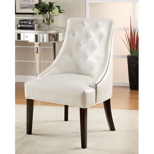 White Upholstered Accent Chair with Tufted Button Accents