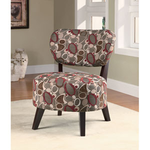 Oblong Print Accent Chair with Padded Seat