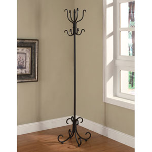 Black Finish Coat Rack with Curved Feet
