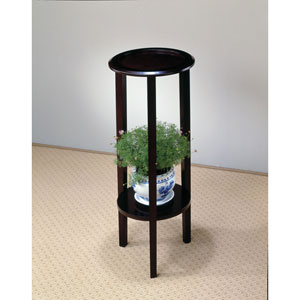 Cappuccino Round Plant Stand Table with Bottom Shelf