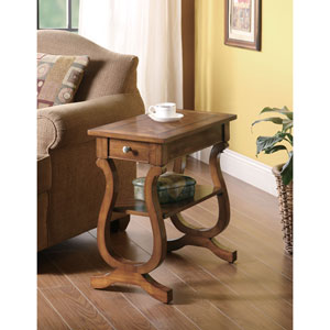 Warm Brown Chairside Table with Drawer