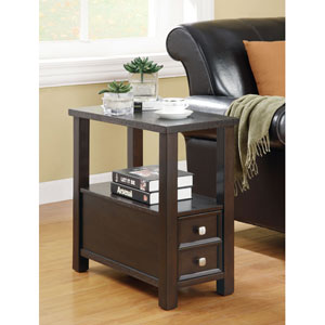 Cappuccino Casual One Drawer One Shelf Chairside Table
