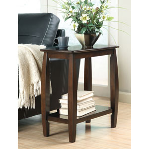 Walnut Contemporary Bowed Leg Chairside Table
