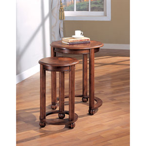 Cherry Two Piece Round Nesting Tables