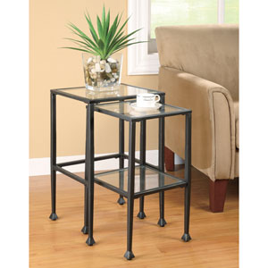 Black Two Piece Glass and Metal Nesting Tables