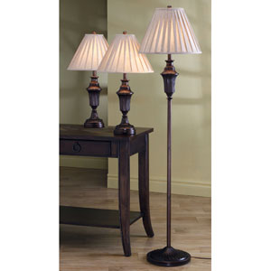 Bronze Traditional Three Piece Lamp Set