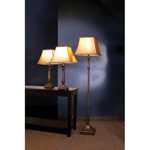Brown Traditional Three Piece Lamp Set with Dark Shades