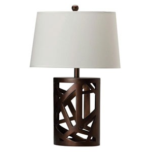 White Oval Shade and Warm Brown Finish Table Lamp
