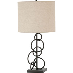 Vintage Bronze and Beige Table Lamp
